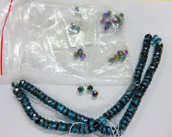 Firepolished Czech Beads - Blue/Teal Rondells and Rounds - Very Sparkly Beautiful Glass Beads
