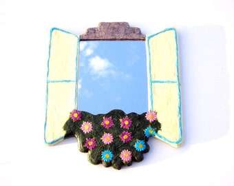 Decorative Wall Mirror,Yellow window mirror with paper flowers,home or office decor,hippie furniture