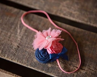Peach Navy  Headband,Tulle Peach Flower Rosettes Headband, Navy Peach fabric headband