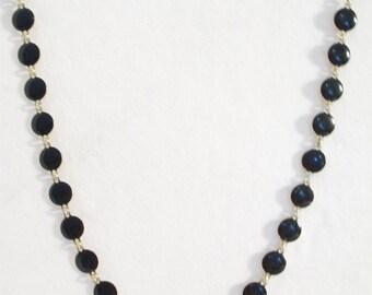 Vintage Black Polka Dot Necklace Enamel Disc