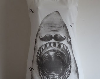 Archibald The Pirate Shark with Moustache Vest Top / Dress - Size 10-12 - White Navy Nautical - T-Shirt Quirky Vintage Kitsch Sailor