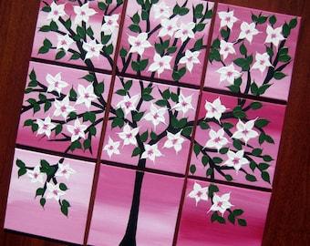"pink,  white,  painting, cherry blossom, tree, tree art, homewares, girl's room, girls bedroom, art, pinks, nature, small, 12"" x 12"""