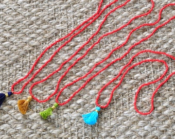 """Handmade Tassel + Bead """"Red Coral Tidal Tassel Necklace"""" Limited Edition"""