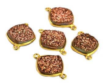 Natural Rose Gold Druzy, Bezel Cushion Shape Connector, 12mm Cushion 24k Gold Plated, Double Bail 1pc  GemMartUSA (RZ-11133)