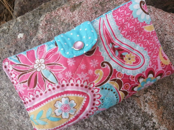 Quilted Checkbook Cover, Pink & Turquoise Coupon Wallet