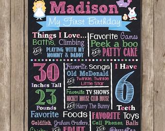 Alice in Wonderland Birthday Chalkboard Custom Color Printable Poster
