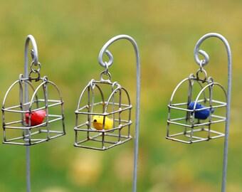 ONE Fairy Garden Miniature Birdcage with Bird on decorative hook - bird cage