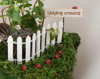 ONE Fairy Garden miniature lady bug with stake for miniature garden or terrarium