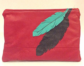 Large Leather feather bag