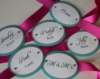 Pink & Teal Candy Tags