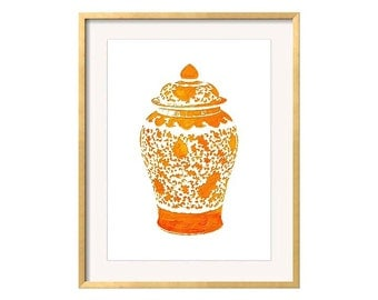 Orange Ginger Jar Print, Orange Chinoiserie Wall Art, Orange Vase Print, Palm Beach Chic, Orange and White Wall Art, Orange Pottery Print