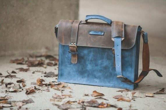 Laptop Leather Briefcase, Full Grain Blue Leather Bag, Leather Bag, blue Leather Briefcase, Bag for files, Leather Bag, Man Bag