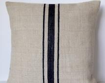 Burlap Pillows Grain Sack Pillows Ivory Black Stripes Rustic Farmhouse Beach Jute Throw Pillows Country All Sizes Gift Wedding Anniversary
