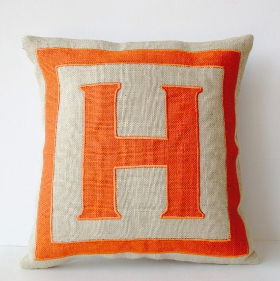 Custom Monogrammed Throw Pillows : Personalized Monogram Throw Pillow Burlap Pillows Orange