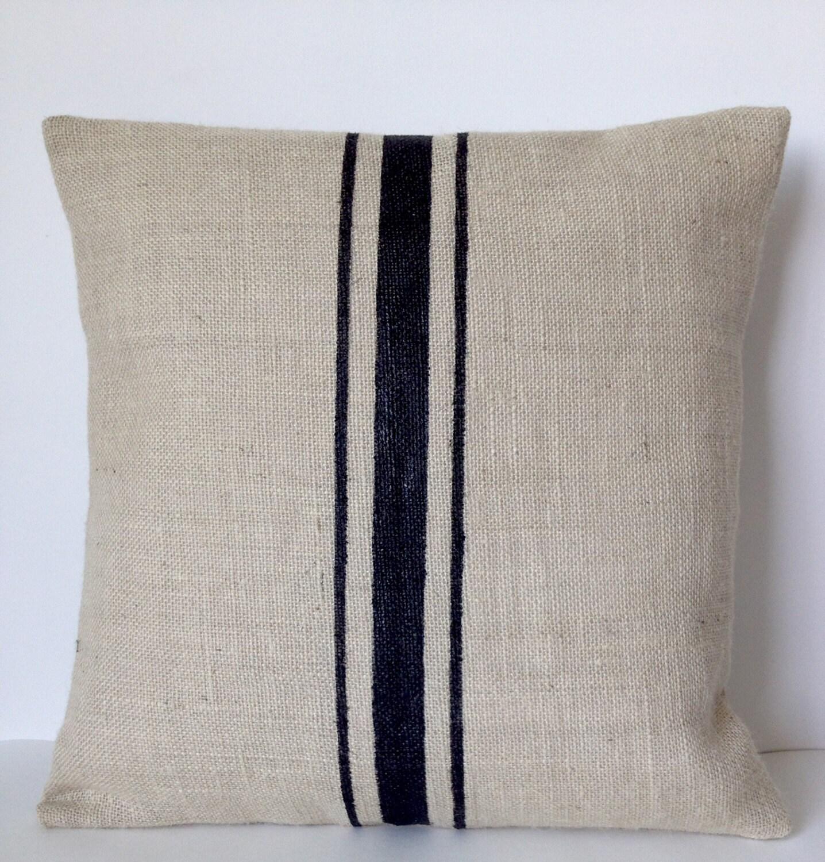 Burlap Pillows Grain Sack Pillows Ivory Black Stripes Rustic