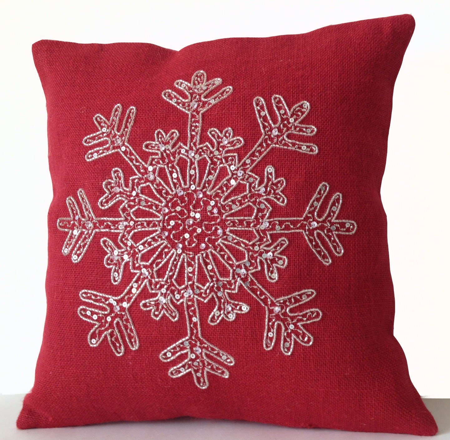 Christmas Pillow Cover Snow Flake Pillow Red Burlap Pillows