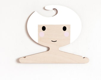 White haired plywood hand painted children's hanger