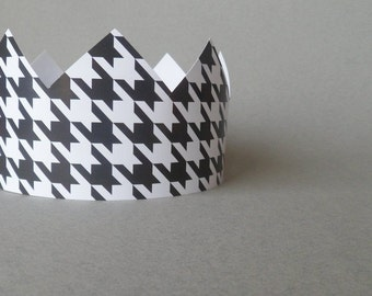 Black Houndstooth Pattern Party Crowns