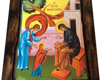 Virgin Mary - The Seven-Steps - Orthodox Byzantine icon on wood handmade (22.5cm x 17cm)