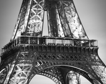 "Paris Black and White - eiffel tower night prints 8x10 black and white photography paris themed room 11x14 wall art 16x20 ""Transcendant"""