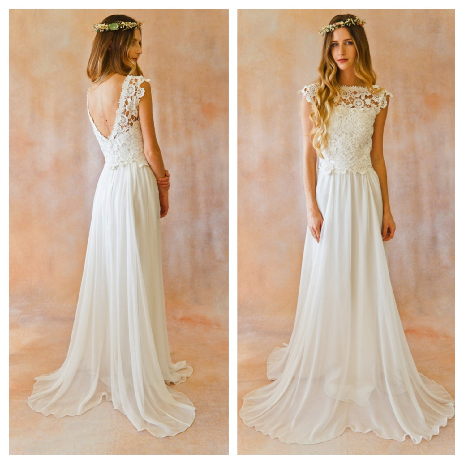 Amy 2-Piece Lace Silk Chiffon Bohemian Wedding Dress. OPEN
