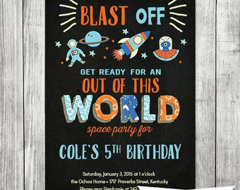 Chalkboard - Rocket Invitation - Spaceship Invitation - Outer Space Boy Birthday Invite - 5x7 JPG