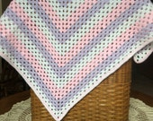 Crocheted Granny Square Pink, Purple and White Baby Blanket