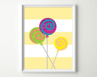 Lollipop Nursery Decor - Kids Candy Lollipops Decor - Lollipops Wall Art - Lollipop Prints - Candy Kitchen Wall Art
