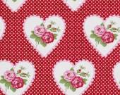 Fabric Valentine Roses Dottie Valentine in Red Tanya Whelan 1 yard