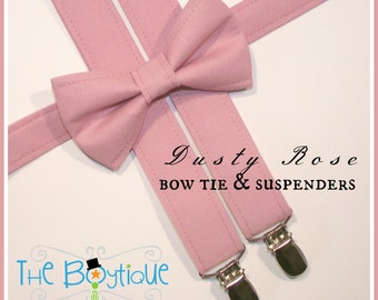 Dusty Rose Bow Ties and Suspenders, Boys, Kids, Toddler, Ring Bearer Gift, Page Boy Braces