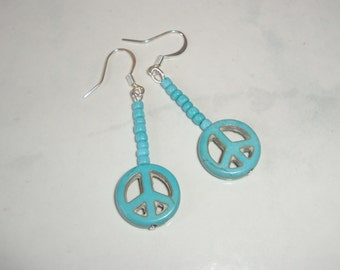 Turquoise Peace Sign Earrings, Dangle, Handmade