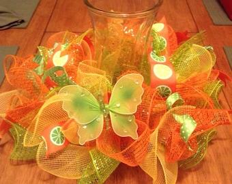 Table centerpiece/ summer mesh centerpiece/ mesh candle holder/ vase holder
