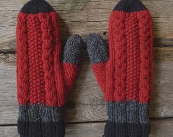 Wool mittens, men mittens women mittens, winter accessories hand knit, Canadian wool red black dark grey