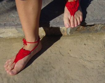 Red hand crocheted barefoot sandals