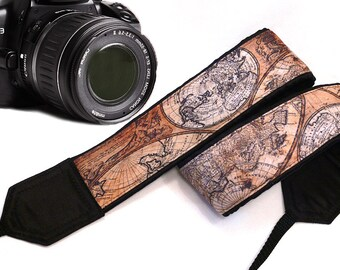 Map Camera Strap. Vintage Camera Strap.Photographer Gift. Brown Camera Strap. Accessories
