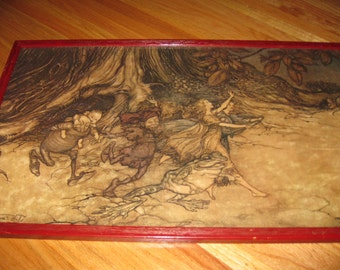 "ARTHUR RACKHAM PRINT From Peter Pan In Kensington Gardens Vintage Print And Frame Measures 17"" x 28"""