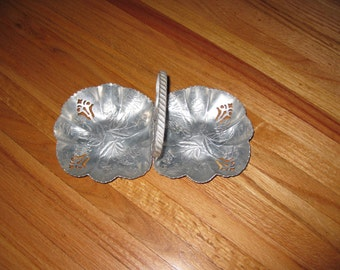 """MID CENTURY CANDY Dish Aluminum Two Sided With Handle In The Middle 5 1/2"""" x 10 1/2"""""""