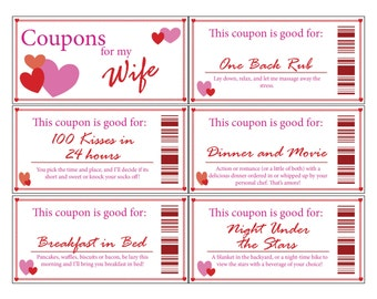 Wife Coupon Book|Printable|Digital|Stocking Stuffer|Valentine's Day|Romance|Anniversary|Gift|Wife|Love