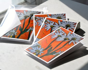 Bright Daisy Note Cards - Set of 4 Note Cards- Blank Greeting Cards - Flower Note Card