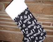 Black and White Dog Woof Christmas Stocking