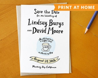 Where It All Began: Custom Wedding Save the Date Card Design / Print at Home Custom Wedding Design