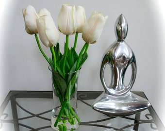 White Tulips in Glass Vase with & Faux Water, Tulips, Feng Shui, Japanese Style Flowers