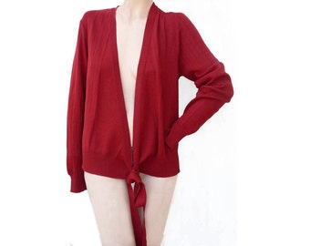 Cardigan Sweater Dark Red Wrap Cardigan Dolce & Gabbana Tie belt long sleeve 44 Italy