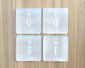 Laser Cut Plexiglass Periodic Table Elements Coasters