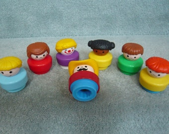 Seven Vintage Fisher Price Chunky Little People  Lot D