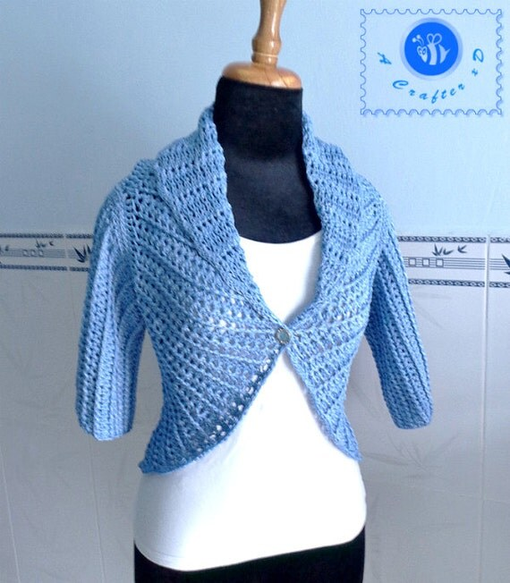 Free Crochet Pattern For Shawl With Sleeves : Items similar to Crocheted shawl cir-collar vest with ...