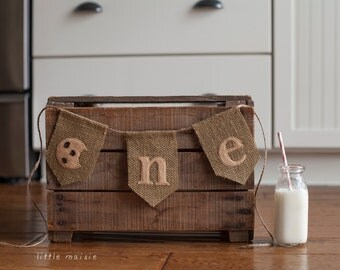 "Milk and Cookies ""one"" First Birthday Banner Cake Smash High Chair Crate Bucket Party Burlap Felt"
