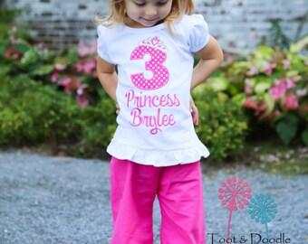 Princess Birthday Shirt Crown Polka Dots Shirt Only