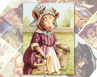 Animals Fantasy ATC ACEO cards Digital Collage Sheet for Scrapbooking Altered Art Victorian Style / AC73