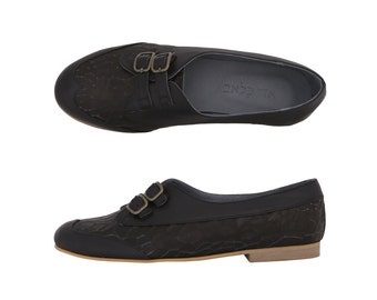 Last Pair 40% Black shoes, Black flats , woman's shoes, preppy shoes , handmade Leather Shoes